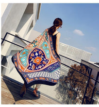 Load image into Gallery viewer, Black Mandala National Style Vacation Printing Sunscreen Scarf Shawl Beach Towel