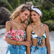 Load image into Gallery viewer, Strapless High Waist Floral Printed Off-the-shoulder Ruffled Swimsuit-4