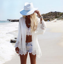 Load image into Gallery viewer, Eagle Printed Beach Chiffon Lace Stitch Large Size Holiday Cardigan