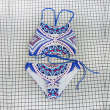 Load image into Gallery viewer, New Sexy Split Swimsuit Blue Print Strappy Bikini