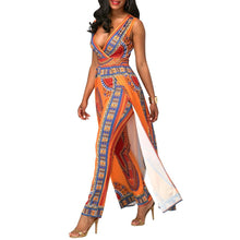 Load image into Gallery viewer, Print Deep V Neck Sleeveless Split Jumpsuit