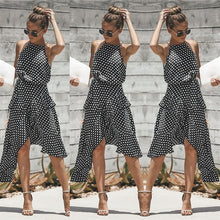 Load image into Gallery viewer, Sexy Summer Halter Neck Polka Dot Irregular Sundress