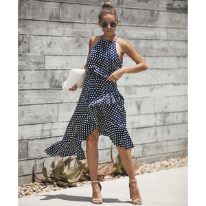 Sexy Summer Halter Neck Polka Dot Irregular Sundress