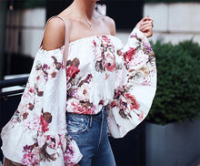 Load image into Gallery viewer, Floral Print Off The Shoulder Flare Sleeve Casual Top Blouse