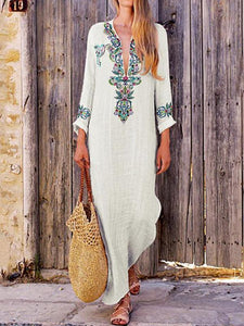 Loose Ethnic Floral Printed Long Sleeve Maxi Dress
