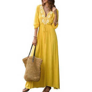 Yellow V Neck Long Sleeve Maxi Dress