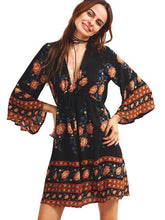 Load image into Gallery viewer, Beautiful Bohemia Floral Deep V Neck 3/4 Trumpet Sleeve Mini Dress