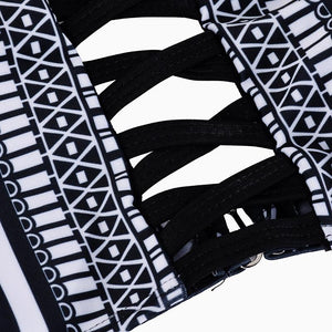 New Black and White Color Matching Retro Pattern Sexy Swimsuit Bikini