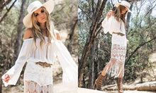 Load image into Gallery viewer, Bohemian Holiday Style Lace Stitching Off-the-shoulder Tassel Dress