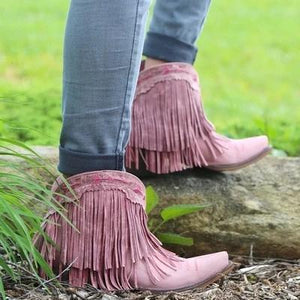 Women Slip On Retro Square Heel Solid Color Suede Boots Point Toe Tassel Shoes