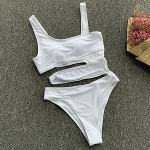 Sexy Cross Bandage One Piece Hollow Out Swimsuit