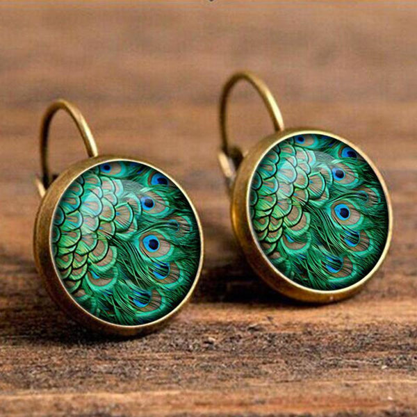 Fashion Boho Drop Time Gemstone Feather Earrings Vintage Bronze Earrings