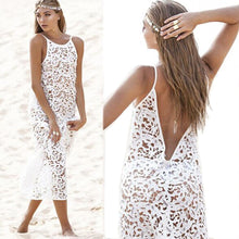 Load image into Gallery viewer, New Hook Flower Cutout Sexy Lace Bikini Cover Up Dress