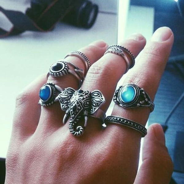 Bohemian Elephants Ring Retro Stone 10pcs Rings Sets For Women