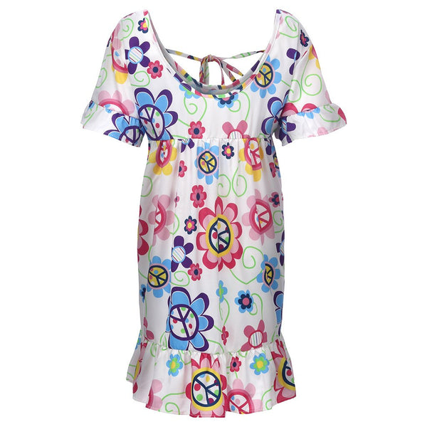 Bohemian Loose Flower Print Short-sleeved Ruffled Summer Mini Dress