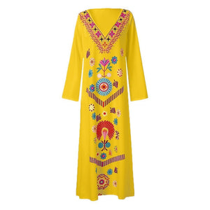 Women's Summer Maxi Dress Printed Long Sleeve V-neck Dresses Hem Baggy Kaftan Party Long Dresses Summer Dress