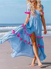 Load image into Gallery viewer, 2018 Summer Boho Pompoms Split Beach Maxi Dress
