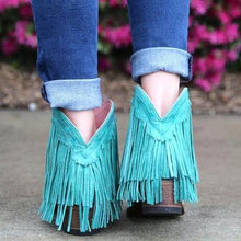 Load image into Gallery viewer, Women Slip On Retro Square Heel Solid Color Suede Boots Point Toe Tassel Shoes