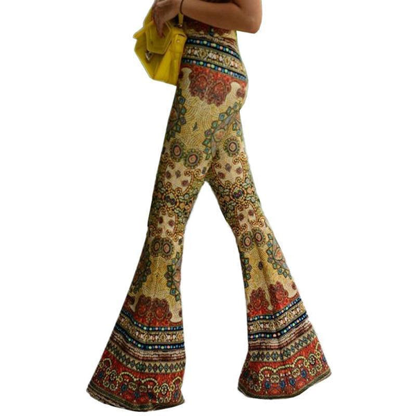 Hippie Elastic Stretch Boho Flare Pants