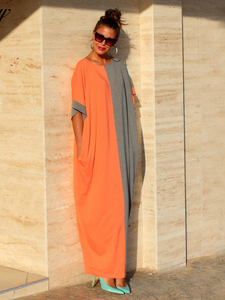 Elegant Multi Color Long Sleeve  Loose Maxi Dress