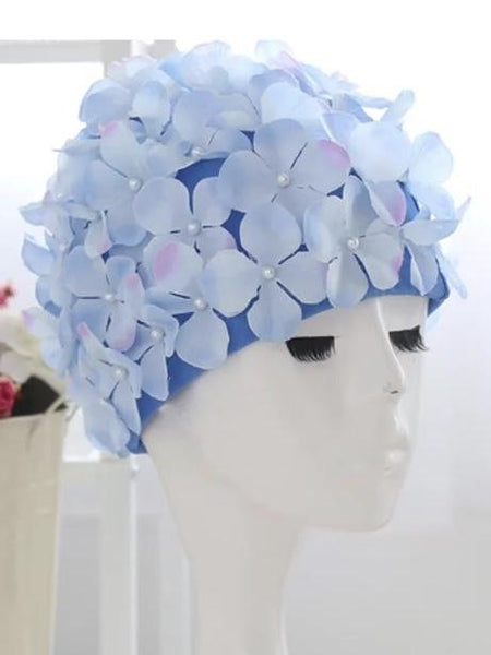 Handmade Romantic Flowers Women Swim Cap