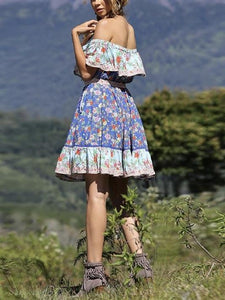 Blue Off-the-shoulder Bohemia Mini Chiffon Floral Print Dress Beach Style Vacation Dress