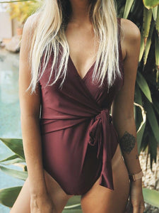 Elegant Dance Solid One-piece Swimsuit