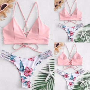 Solid Color Top Floral Bottom Bikini Cut Flowers Two Piece Swimsuit Push up Swimwear Beachwear swimming suit