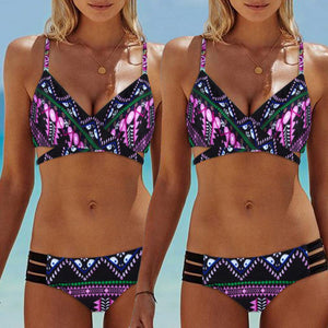 Blue Fashion Women Bohemia Push-Up Padded Bra Beach Bikini