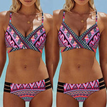 Load image into Gallery viewer, Blue Fashion Women Bohemia Push-Up Padded Bra Beach Bikini