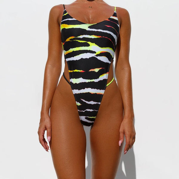 Bright Stripes Cover The Belly and Slim One-piece Bikini Woman