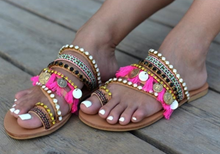 Load image into Gallery viewer, Vintage Boho Beach Tassels Flat Sandals Shoes