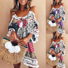 Load image into Gallery viewer, Elegant Dress Women Off Shoulder Dress Tassel Bohemia Printed Cocktail Party Beach Dresses