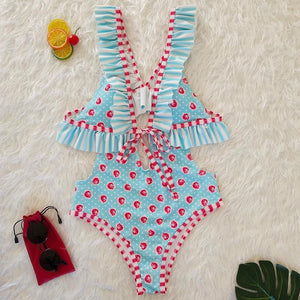 Blue Deep V Ruffled Floral Print Ins Style One Piece Swimsuit
