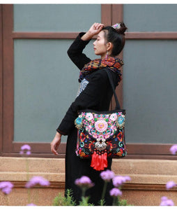 Folk Style Flower Peacock Embroidered Tassel Canvas Shoulder Bag Handbag