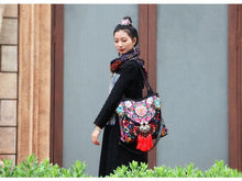 Load image into Gallery viewer, Folk Style Flower Peacock Embroidered Tassel Canvas Shoulder Bag Handbag
