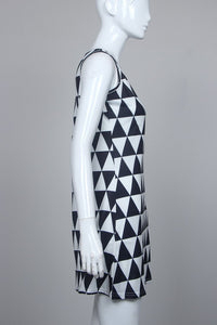 Sexy Sleeveless Triangle Black and White Print Mini Dress