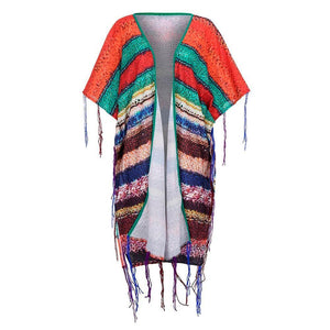 Winter Women Multicolor Print Ethnic Wind Knit Cardard Bat Sleeve Tassel Coat
