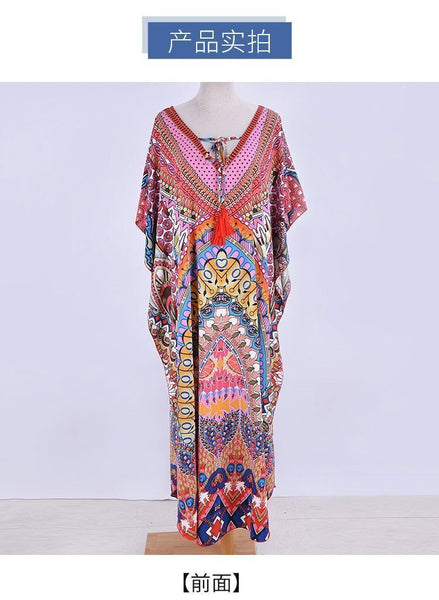 Women Retro Print Beach Cover Up Long Kaftan Dress Sun Protection Beachwear