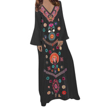 Load image into Gallery viewer, Women's Summer Maxi Dress Printed Long Sleeve V-neck Dresses Hem Baggy Kaftan Party Long Dresses Summer Dress