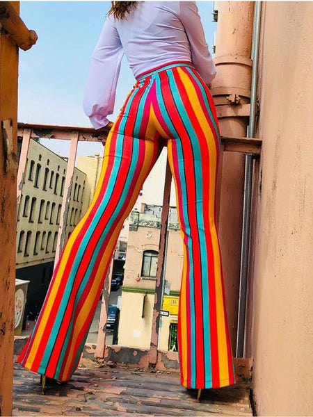 Sexy Striped Casual Long Pants Flared Trousers