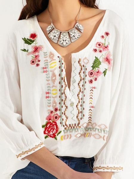 Embroidered Bohemian Floral Casual V-Neckline Sleeves Peasant Blouses Tops