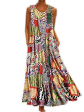 Load image into Gallery viewer, Bohemian Printed Sleeveless Large Swing Long Dress