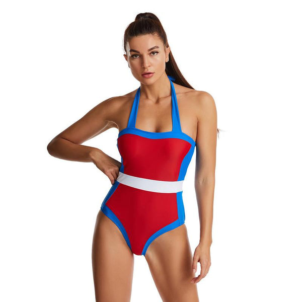 Tight Multi-colored Stitched Cylindrical Striped Print Sexy Women's Swimsuit