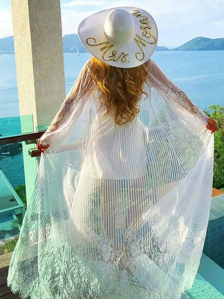 Solid Color Cover up Swimwear Smock Lace Chiffon Bikini Beach Sunscreen Shirt Embroidered Holiday Cardigan
