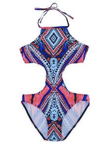 New European and American Colorful Bikini One-piece Swimsuit