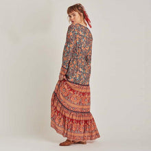 Load image into Gallery viewer, Boho Gypsy Floral Print Long Sleeve High Waist Maxi Dress