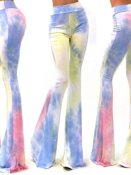 New Tie-dye Print Fashion Slim Flared Pants
