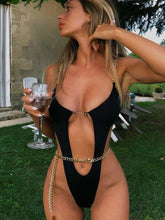 Load image into Gallery viewer, Chain sexy swimsuit solid color bikini one-piece swimsuit