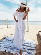 Load image into Gallery viewer, Spaghetti-strap Lace Hollow Solid Beach Swimwear Maxi Dresses